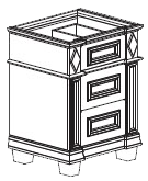 Bertch Madison 3 Drawer Base Cabinet