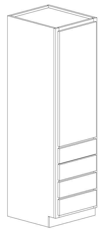 "Bertch 21"" Single Door Linen Cabinet with 4 Drawers"